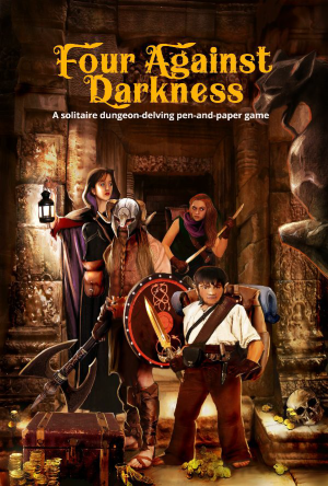Four Against Darkness cover showing four heroes discovering treasure in a dungeon