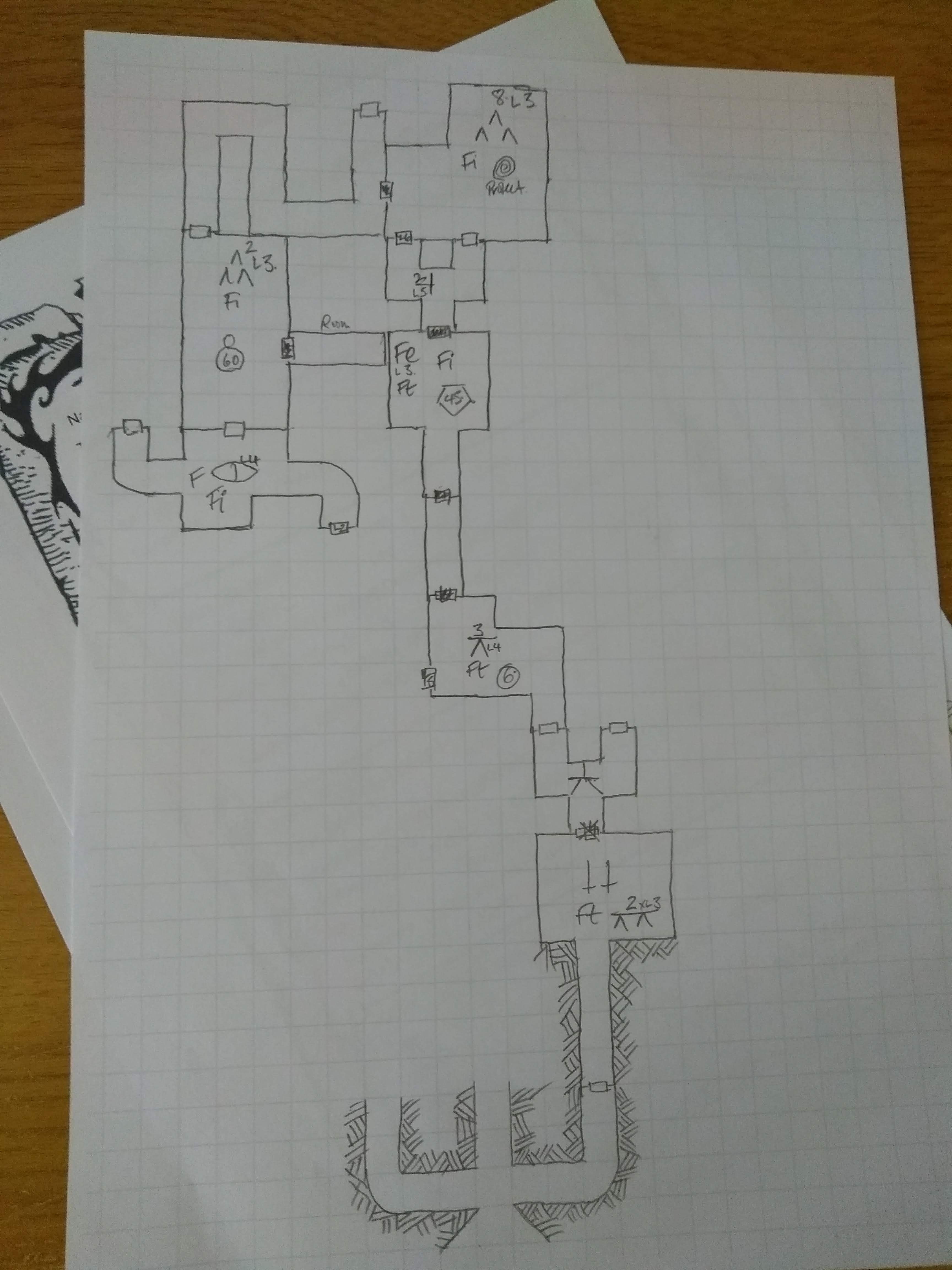 Map of the dungeon half way through